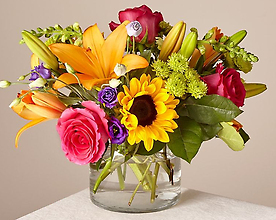 Mixed Brights Designers Choice in a Clear Vase