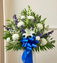 Heartfelt Sympathies Blue & White Standing Basket